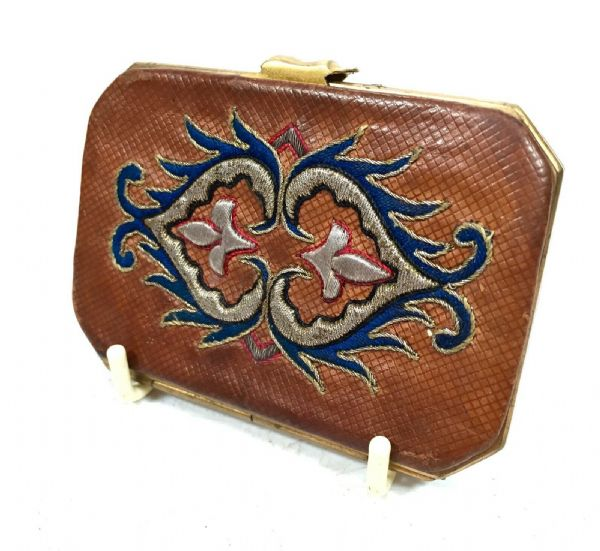 Antique Ladies French Leather Embroidered Purse / C.1890 With Silk Interior